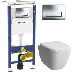 Комплект Geberit Duofix Платтенбау 458.125.21.1 4 в 1 с кнопкой смыва + Чаша для унитаза + Крышка-сиденье