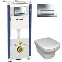 Комплект  Система инсталляции для унитазов Geberit Duofix Платтенбау 458.125.21.1 4 в 1 с кнопкой смыва + Чаша для унитаза подвесного Jacob Delafon Vox EDM102-00