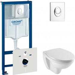 Комплект  Система инсталляции для унитазов Grohe Rapid SL 38750001 4 в 1 с кнопкой смыва + Крышка-сиденье Jacob Delafon Patio E70021 с микролифтом + Чаша для унитаза подвесного Jacob Delafon Patio E4187