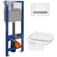 Комплект Унитаз Cersanit Carina new clean on slim lift + Инсталляция Cersanit Aqua P-IN-MZ-AQ40-QF с белой кнопкой смыва