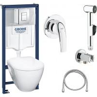 Комплект  Grohe Solido 39186000 подвесной унитаз + инсталляция + кнопка + Гигиенический душ Grohe BauCurve 123072 со смесителем