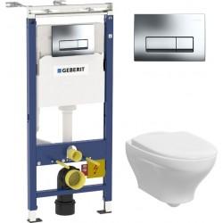 Комплект  Система инсталляции для унитазов Geberit Duofix Платтенбау 458.125.21.1 4 в 1 с кнопкой смыва + Унитаз подвесной Gustavsberg Estetic Hygienic Flush белый