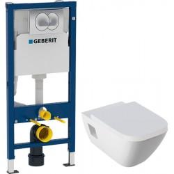 Комплект Унитаз Geberit Renova Plan с микролифтом + Инсталляция Geberit Duofix 458.133.21.1 с кнопкой смыва