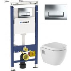Комплект  Система инсталляции для унитазов Geberit Duofix Платтенбау 458.125.21.1 4 в 1 с кнопкой смыва + Унитаз подвесной Sanindusa Sanibold 137932 с микролифтом