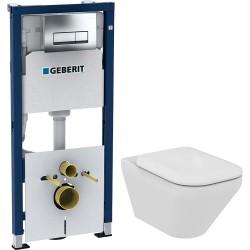 Комплект Инсталляция Geberit Duofix 4 в 1 с кнопкой смыва + Унитаз Ideal Standard Tonic II K316501 безободковый