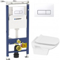 Комплект Инсталляция Geberit Duofix Платтенбау 4 в 1 с белой кнопкой смыва + Унитаз Cersanit Carina new clean on slim lift