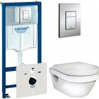 Комплект  Унитаз подвесной Gustavsberg Hygienic Flush WWC 5G84HR01 безободковый + Система инсталляции для унитазов Grohe Rapid SL 38775001 4 в 1 с кнопкой смыва