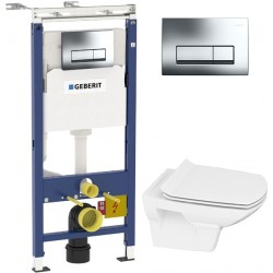 Комплект Инсталляция Geberit Duofix Платтенбау 4 в 1 с кнопкой смыва хром + Унитаз Cersanit Carina new clean on slim lift