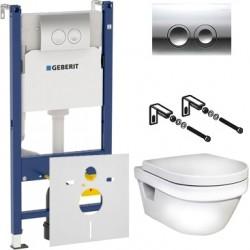 Комплект  Унитаз подвесной Gustavsberg Hygienic Flush WWC 5G84HR01 безободковый + Система инсталляции для унитазов Geberit Duofix Delta 458.124.21.1 3 в 1 с кнопкой смыва