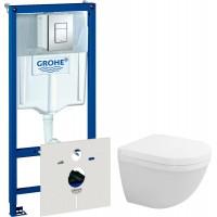 Комплект Инсталляция Grohe Rapid SL 4 в 1 с кнопкой смыва + Унитаз Duravit Starck 3 с микролифтом
