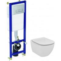 Комплект  Система инсталляции для унитазов Ideal Standard W3710AA 4 в 1 + Крышка-сиденье Ideal Standard Tesi T352701 с микролифтом, петли хром + Чаша