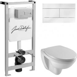 Комплект  Система инсталляции для унитазов Jacob Delafon E5504-NF + Кнопка смыва Jacob Delafon E4316-00 белая + Крышка-сиденье Jacob Delafon Patio E70