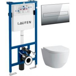 Комплект  Система инсталляции для унитазов Laufen Lis CW1 8.9466.0 + Чаша для унитаза подвесного Laufen Pro Rimless 8.2096.6.000.000.1 без ободка + Кнопка смыва Laufen Lis AW1 8.9566.1.004.000.1 хром