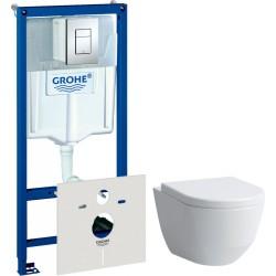 Комплект  Система инсталляции для унитазов Grohe Rapid SL 38775001 4 в 1 с кнопкой смыва + Крышка-сиденье Laufen Pro 8.9695.1.300.000.1 с микролифтом + Чаша для унитаза подвесного Laufen Pro Rimless 8.2096.6.000.000.1 без ободка