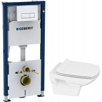 Комплект Инсталляция Geberit Duofix 4 в 1 с кнопкой смыва + Унитаз Cersanit Carina new clean on slim lift