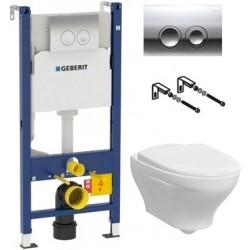 Комплект  Система инсталляции для унитазов Geberit Duofix Delta 458.124.21.1 3 в 1 с кнопкой смыва + Унитаз подвесной Gustavsberg Estetic Hygienic Flush белый